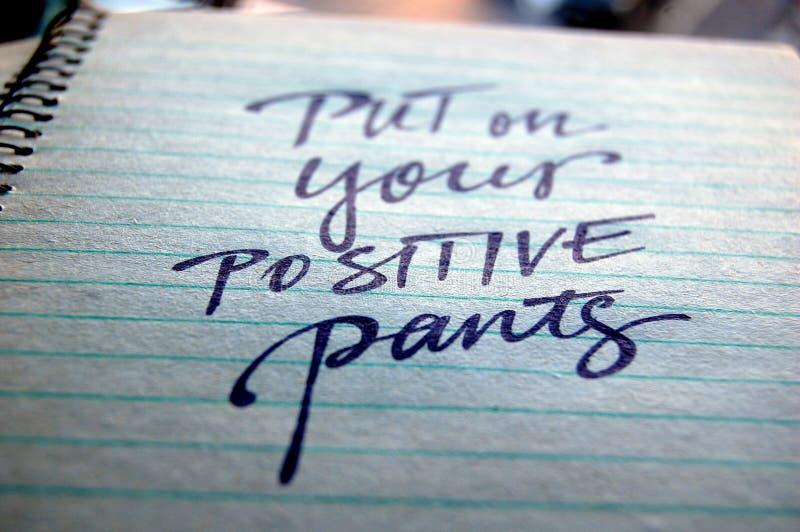 Τεθειμένος στα θετικά εσώρουχά σας καλλιγραφικό υπόβαθρο στοκ εικόνες
