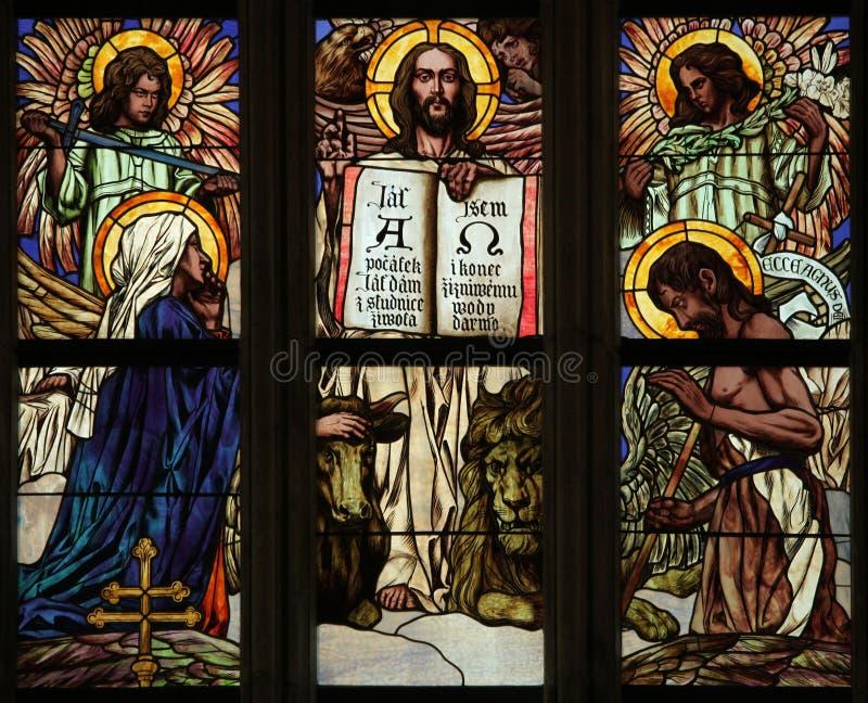 Τελευταία κρίση Λεκιασμένο παράθυρο γυαλιού τέχνης Nouveau στοκ φωτογραφία με δικαίωμα ελεύθερης χρήσης