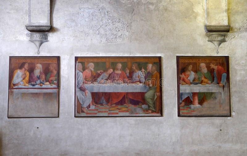 Τελευταίο βραδυνό, νωπογραφία στην εκκλησία Angeli degli της Σάντα Μαρία στο Λουγκάνο στοκ εικόνες