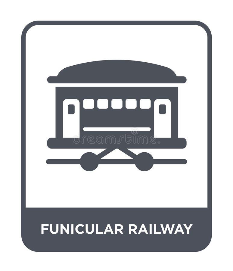 τελεφερίκ εικονίδιο σιδηροδρόμων στο καθιερώνον τη μόδα ύφος σχεδίου τελεφερίκ εικονίδιο σιδηροδρόμων που απομονώνεται στο άσπρο  ελεύθερη απεικόνιση δικαιώματος