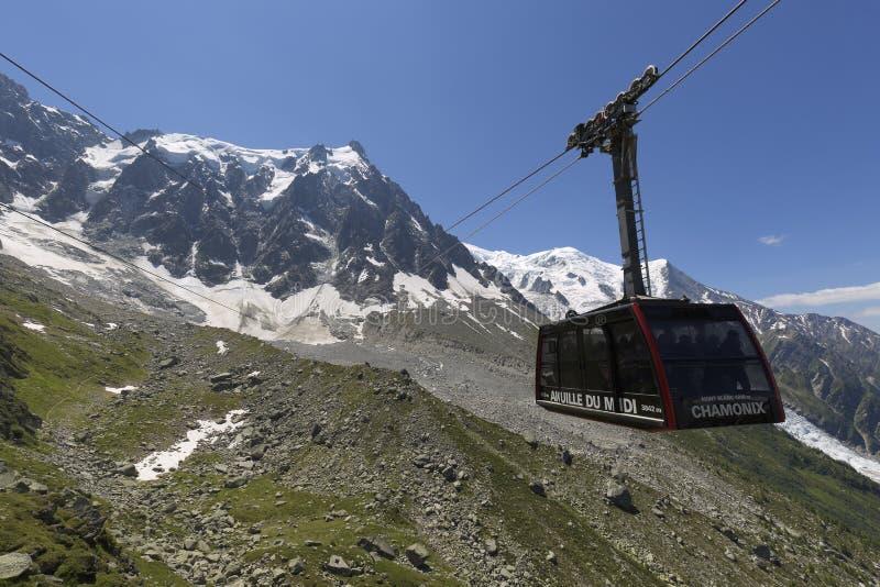 Τελεφερίκ Aiguille du Midi σε Chamonix, Γαλλία στοκ φωτογραφία με δικαίωμα ελεύθερης χρήσης