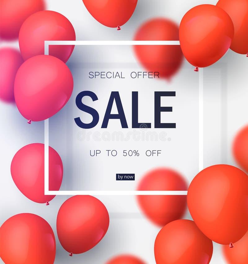 Τελική πώληση, ειδική προσφορά με τα κόκκινα μπαλόνια Ρεαλιστικό διανυσματικό σχέδιο για τα εμβλήματα καταστημάτων και πώλησης επ διανυσματική απεικόνιση