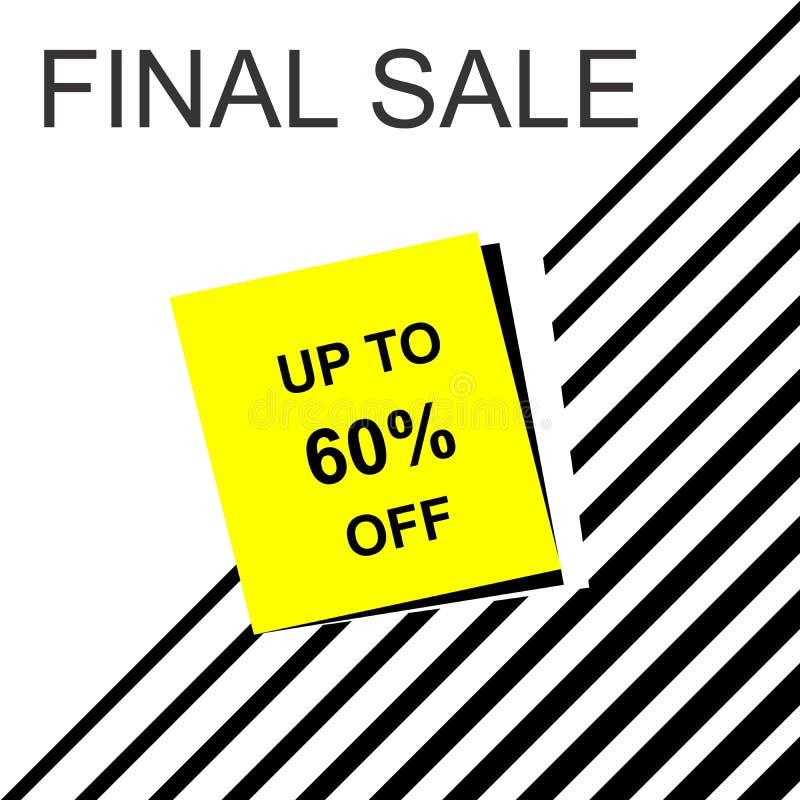 Τελικό έμβλημα πώλησης, υπόβαθρο αφισών Μεγάλη πώληση, ειδική προσφορά, εκπτώσεις, μέχρι 60% μακριά απεικόνιση αποθεμάτων