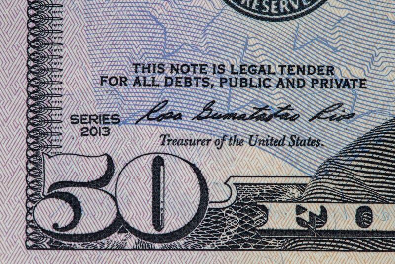 Τεμάχιο πενήντα αμερικανικών δολαρίων λογαριασμών στοκ φωτογραφίες με δικαίωμα ελεύθερης χρήσης