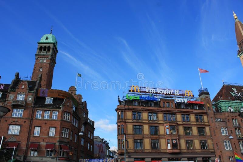 Τεμάχιο της Κοπεγχάγης Δημαρχείο, Δανία Άποψη από το προαύλιο στοκ εικόνες