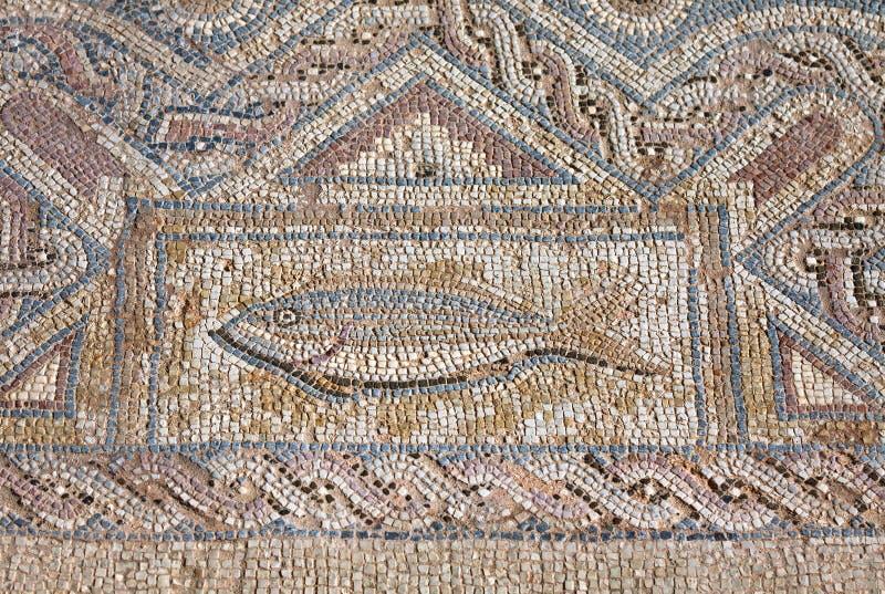 Τεμάχιο του αρχαίου θρησκευτικού μωσαϊκού στο Κούριο, Κύπρος στοκ φωτογραφίες