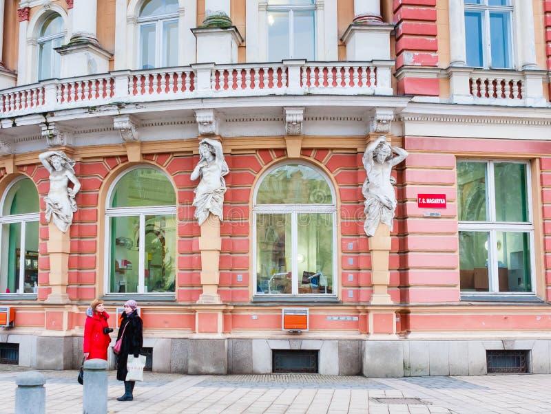 Τεμάχιο του κτηρίου ταχυδρομείου στο Κάρλοβυ Βάρυ, στοκ φωτογραφία με δικαίωμα ελεύθερης χρήσης