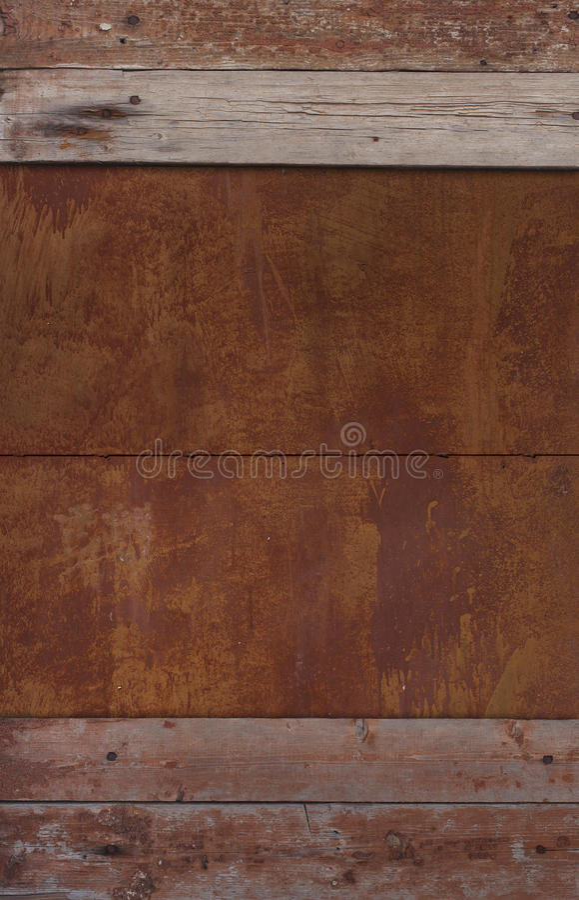 Τεμάχιο του παλαιού ξύλινου τοίχου και του σκουριασμένου μετάλλου στοκ φωτογραφίες με δικαίωμα ελεύθερης χρήσης