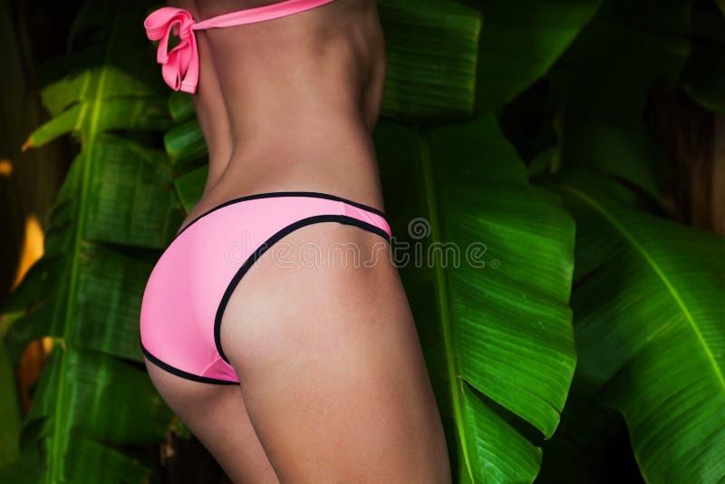 Τεμάχιο του σώματος της γυναίκας στο ρόδινο μπικίνι στοκ εικόνα με δικαίωμα ελεύθερης χρήσης