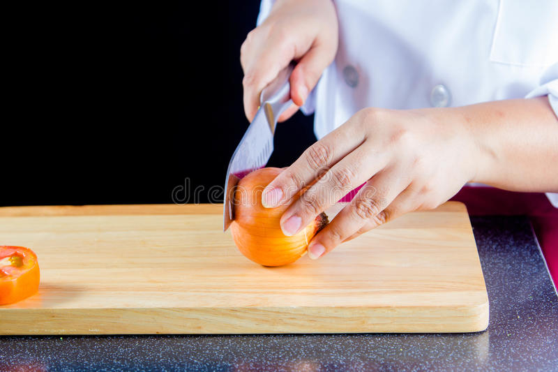 Τεμαχισμένα κρεμμύδια στοκ εικόνα