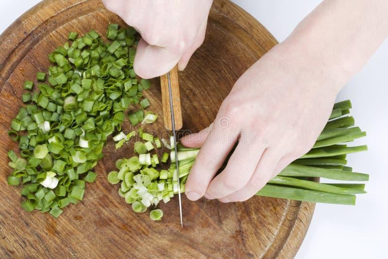τεμαχισμένα πράσινα κρεμμύ&delt στοκ φωτογραφία με δικαίωμα ελεύθερης χρήσης