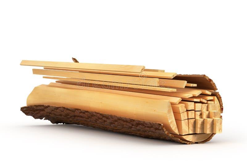 Τεμαχισμένη ξυλεία από το κούτσουρο απεικόνιση αποθεμάτων