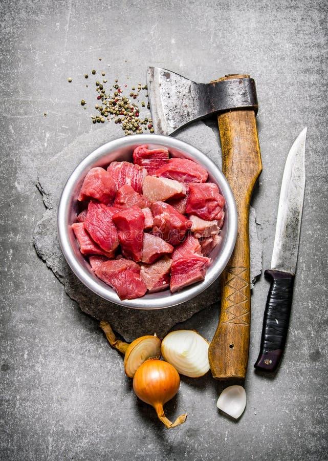 Τεμαχισμένο ακατέργαστο κρέας στοκ εικόνες με δικαίωμα ελεύθερης χρήσης