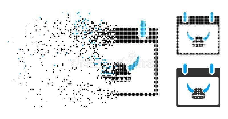 Τεμαχισμένο διαστιγμένο ημίτονο κερασφόρο εικονίδιο ημερολογιακής ημέρας κρανών διανυσματική απεικόνιση