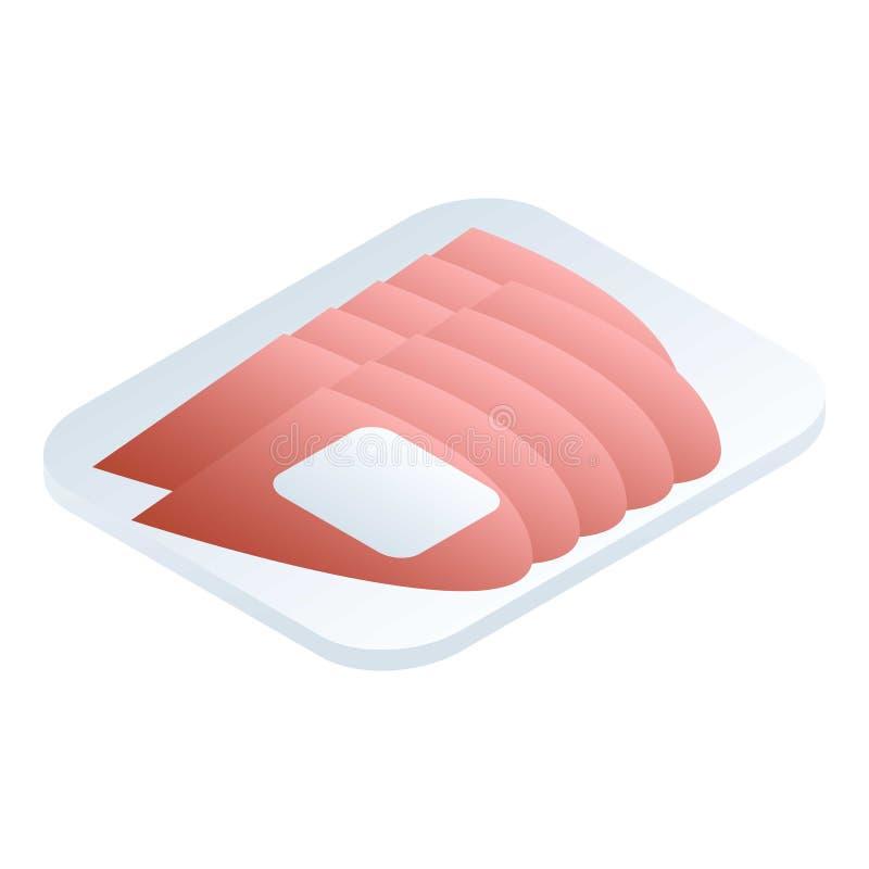 Τεμαχισμένο εικονίδιο κρέατος αγοράς, isometric ύφος απεικόνιση αποθεμάτων
