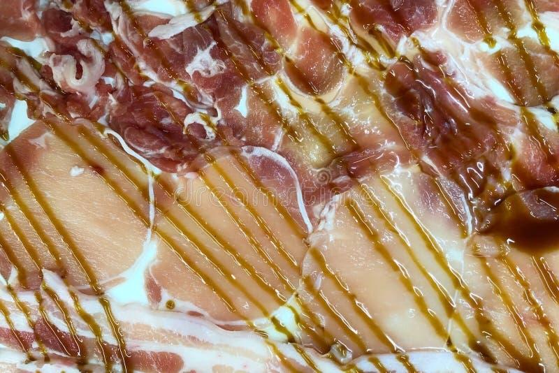 Τεμαχισμένο περιλαίμιο χοιρινού κρέατος κοντά επάνω στοκ φωτογραφία με δικαίωμα ελεύθερης χρήσης