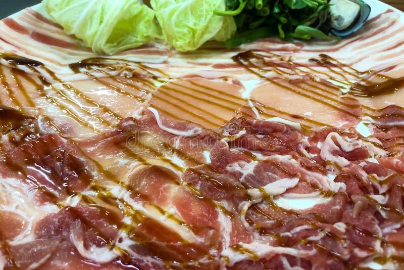 Τεμαχισμένο περιλαίμιο χοιρινού κρέατος κοντά επάνω στοκ φωτογραφίες με δικαίωμα ελεύθερης χρήσης