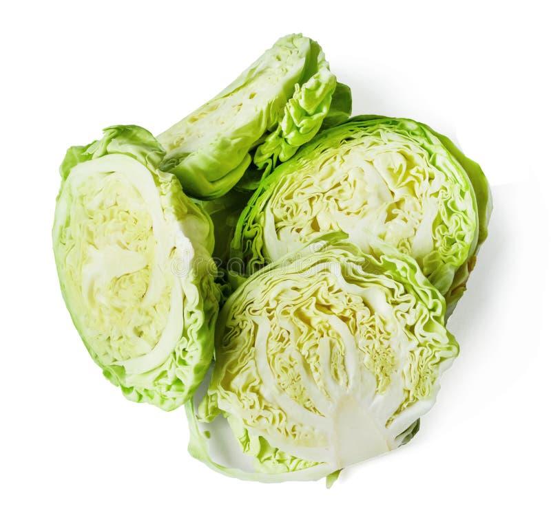 Τεμαχισμένο φρέσκο άσπρο λάχανο που απομονώνεται στο λευκό E E στοκ εικόνα με δικαίωμα ελεύθερης χρήσης