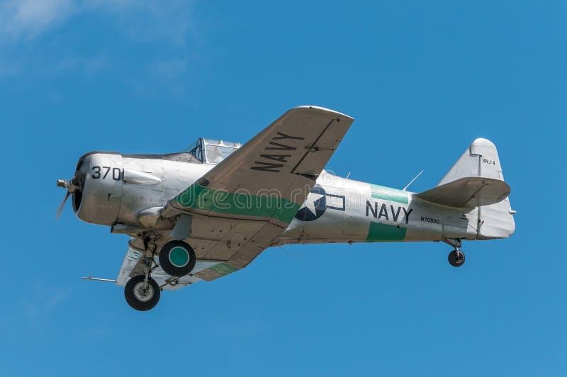 AT-6 τεξανός με το μοχλό προσγείωσης κατεβασμένο στοκ φωτογραφία με δικαίωμα ελεύθερης χρήσης