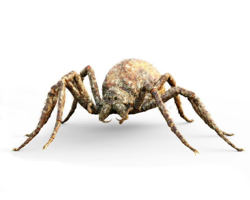 Τεράστια οδηγημένη πανούκλα αράχνη φαντασίας σε ένα άσπρο υπόβαθρο ελεύθερη απεικόνιση δικαιώματος