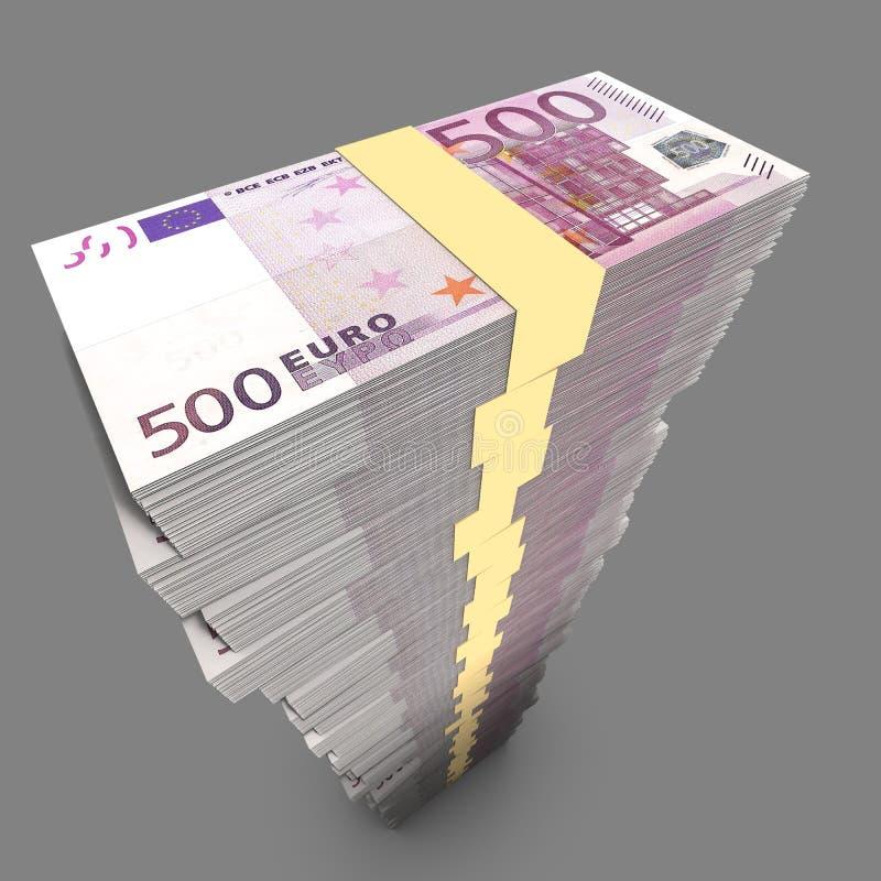 Τεράστιος ενιαίος σωρός ευρωπαϊκών 500 λογαριασμών RMB στο σκοτεινό περιβάλλον απεικόνιση αποθεμάτων