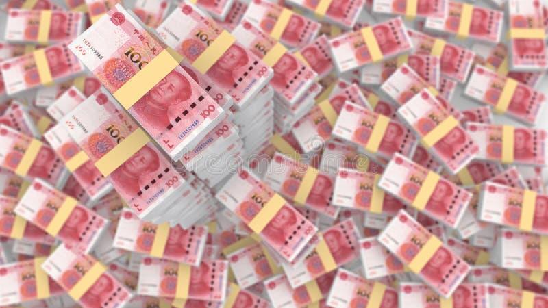 Τεράστιος σωρός τυχαίων κινεζικών 100 λογαριασμών RMB απεικόνιση αποθεμάτων