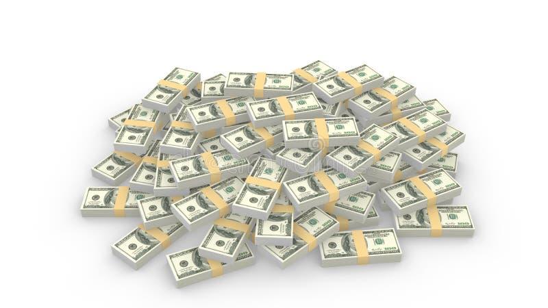 Τεράστιος σωρός των τυχαίων αμερικανικών λογαριασμών 100 δολαρίων στο λευκό διανυσματική απεικόνιση