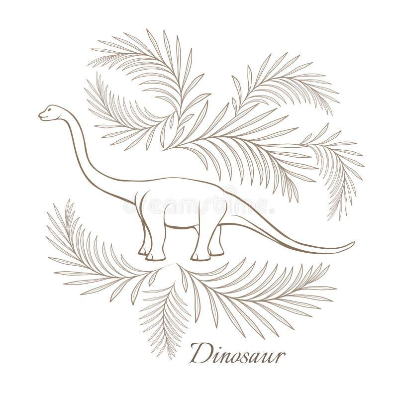 Τεράστιος χορτοφάγος δεινόσαυρος που περιβάλλεται με το σκίτσο κλάδων φοινικών ελεύθερη απεικόνιση δικαιώματος