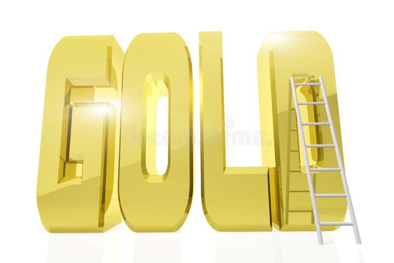 Τεράστιος χρυσός ΧΡΥΣΟΣ λέξης με μια σκάλα δίπλα σε το απεικόνιση αποθεμάτων
