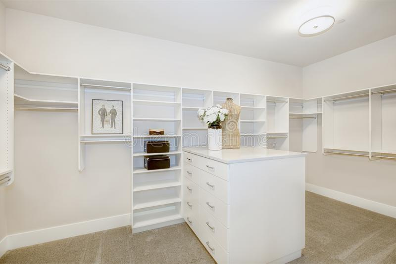Τεράστιο εισαγώμενο ντουλάπι με τα ράφια, τα συρτάρια και τις ράγες ενδυμάτων στοκ εικόνα