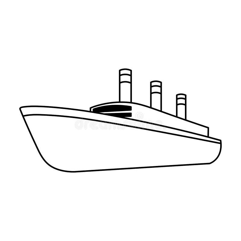 Τεράστιο μαύρο σκάφος της γραμμής φορτίου Σκάφος για τη μεταφορά των βαριών καταιγιδών στη θάλασσα και τον ωκεανό Μεταφορά σκαφών διανυσματική απεικόνιση