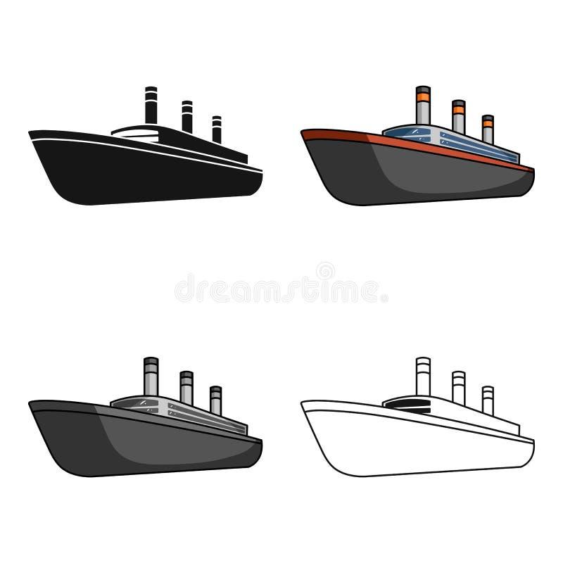 Τεράστιο μαύρο σκάφος της γραμμής φορτίου Σκάφος για τη μεταφορά των βαριών καταιγιδών στη θάλασσα και τον ωκεανό Μεταφορά σκαφών απεικόνιση αποθεμάτων