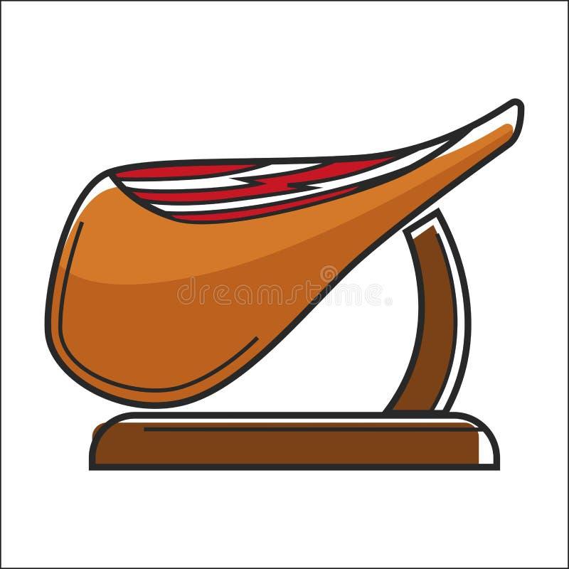 Τεράστιο παχύ κομμάτι του jamon στην ξύλινη στάση ελεύθερη απεικόνιση δικαιώματος