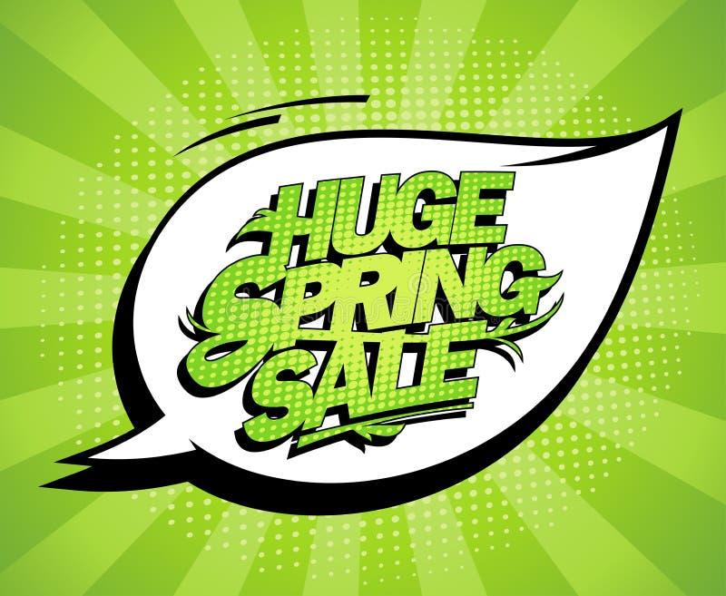 Τεράστιο σχέδιο πώλησης άνοιξη, φρέσκο πράσινο έμβλημα διαφήμισης ελεύθερη απεικόνιση δικαιώματος