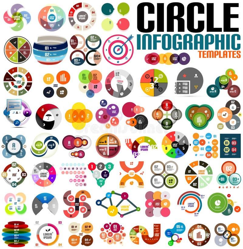 Τεράστιο σύγχρονο σύνολο προτύπων σχεδίου κύκλων infographic διανυσματική απεικόνιση