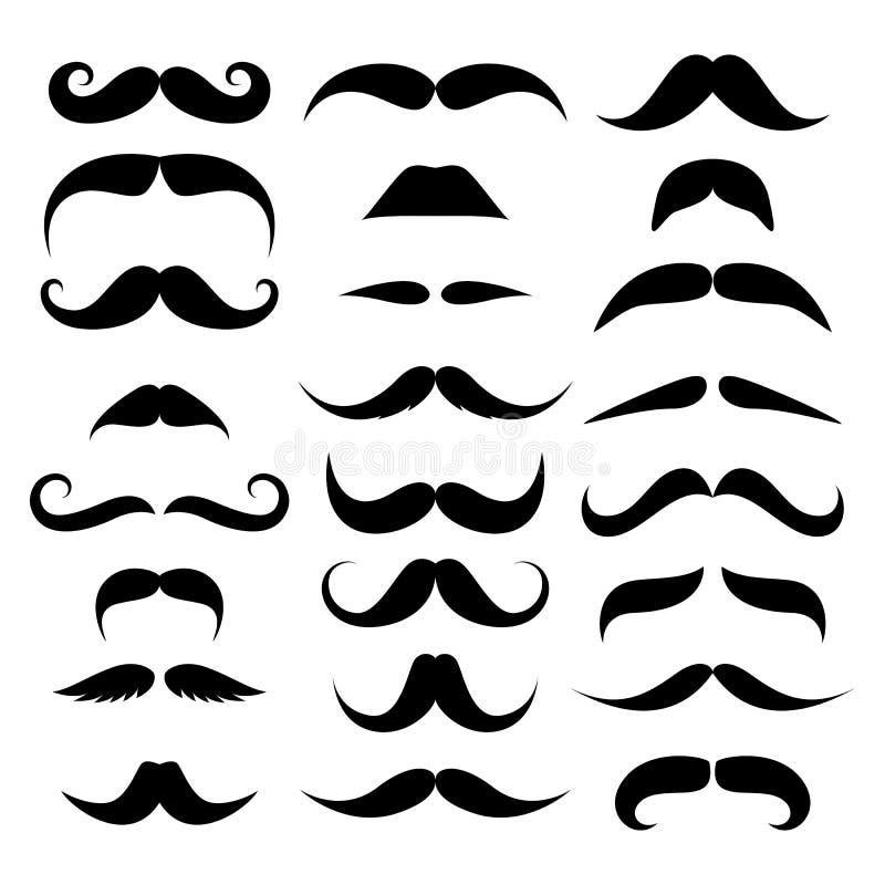 Τεράστιο σύνολο διανύσματος mustache. ελεύθερη απεικόνιση δικαιώματος