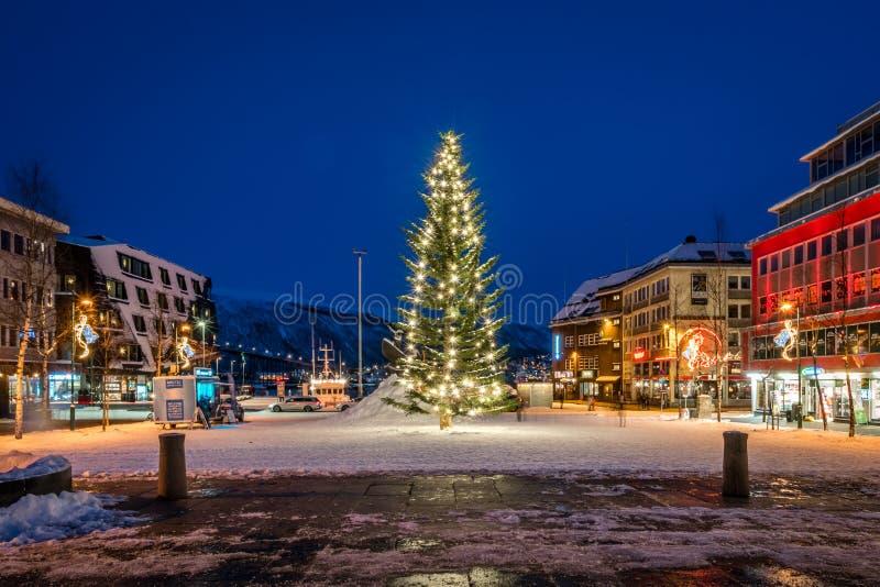 Τεράστιο χριστουγεννιάτικο δέντρο στην πόλη Tromso στοκ φωτογραφία