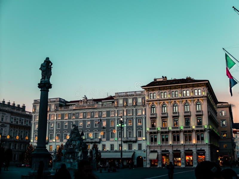Τεργέστη |Ιταλία| στο ηλιοβασίλεμα στοκ φωτογραφία