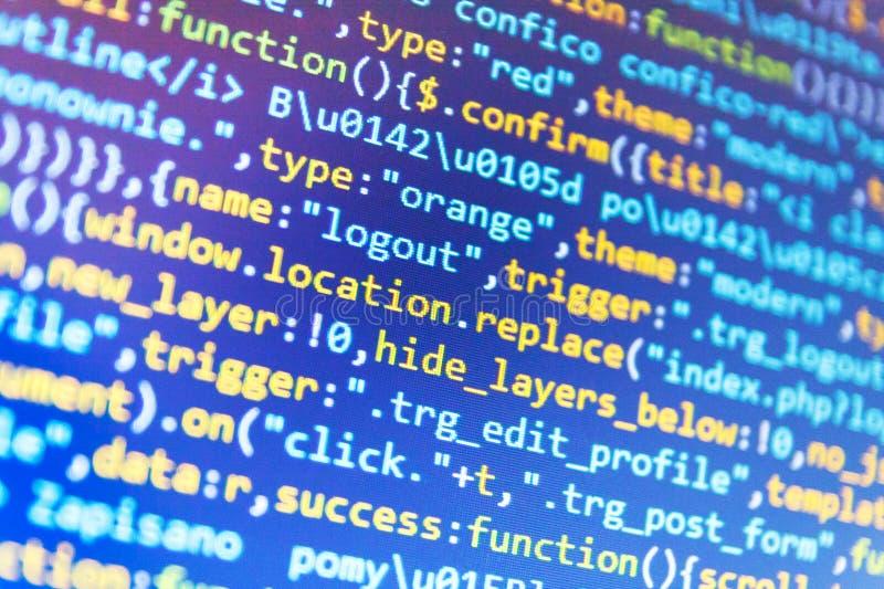 Τερματικός σταθμός Webdesigner παλαιό έγγραφο κώδικα που προγραμματίζει μερικούς Οι διευθυντηες προγράμματος απασχολούνται στη νέ στοκ φωτογραφία