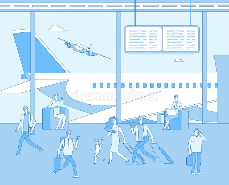 Τερματικό αερολιμένων Άνθρωποι μέσα στον αερολιμένα αεροδρομίων Επιβάτης γυναικών ανδρών στα σαλόνια άνεσης Πίνακας βαθμολογίας α ελεύθερη απεικόνιση δικαιώματος