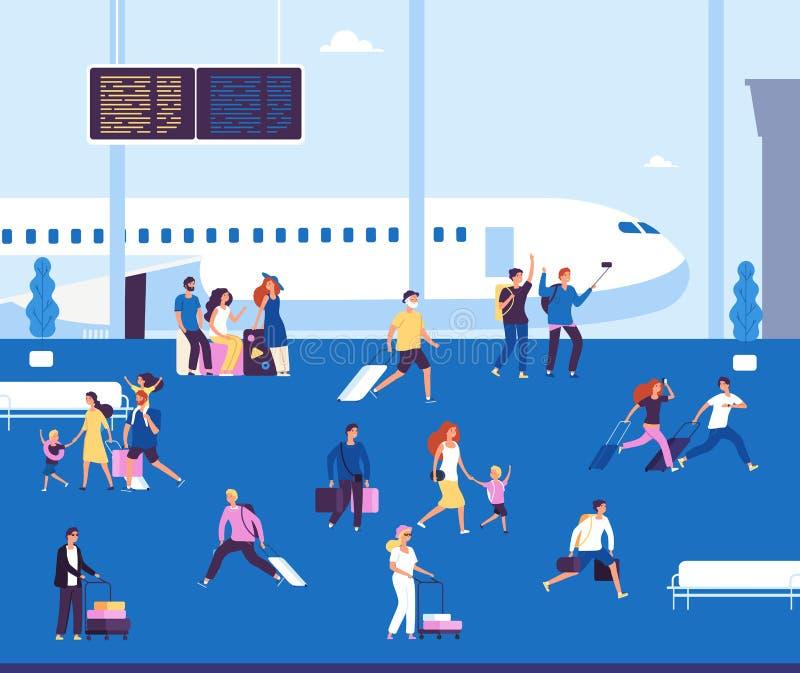Τερματικό αερολιμένων εσωτερικό Τουρίστες ζευγών με την αναμονή βαλιτσών που περπατά ταξιδιωτικό ταξίδι επιβατών αερολιμένων στο  ελεύθερη απεικόνιση δικαιώματος