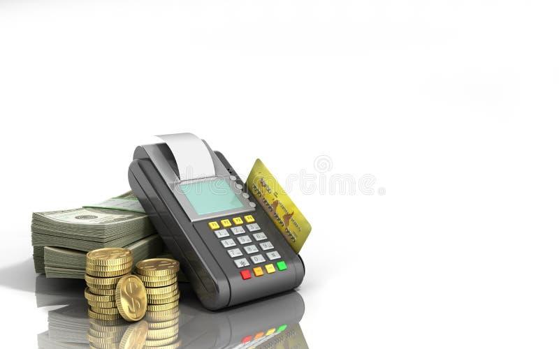 Τερματικό καρτών στους σωρούς των λογαριασμών δολαρίων με μια τραπεζική κάρτα μέσα απεικόνιση αποθεμάτων