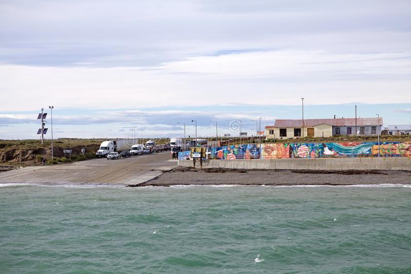 Τερματικό πορθμείων σε Bahia Azul στη Γη του Πυρός κατά μήκος του στενού Magellan, Χιλή στοκ φωτογραφίες με δικαίωμα ελεύθερης χρήσης