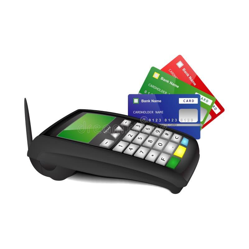 Τερματικό πληρωμής με τις τραπεζικές κάρτες χρώματος στοκ εικόνα με δικαίωμα ελεύθερης χρήσης