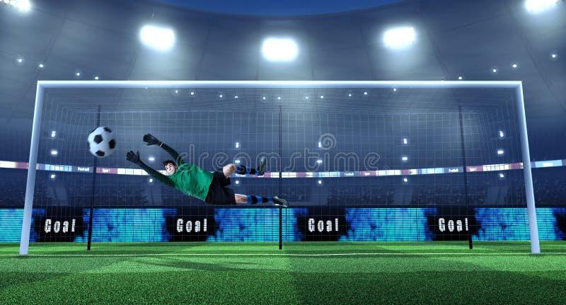Τερματοφύλακας ποδοσφαίρου στο unbranded ύφασμα στη δράση στο τρισδιάστατο ποδόσφαιρο στοκ φωτογραφία