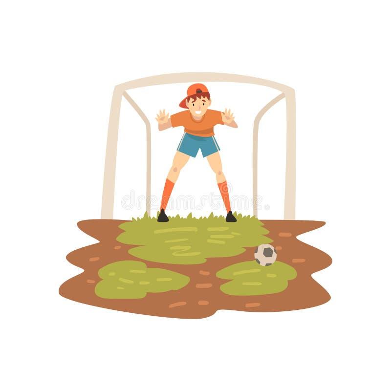 Τερματοφύλακας που στέκεται στην πύλη στον αθλητικό τομέα, ποδοσφαιριστής, διανυσματική απεικόνιση θερινών υπαίθρια δραστηριοτήτω ελεύθερη απεικόνιση δικαιώματος