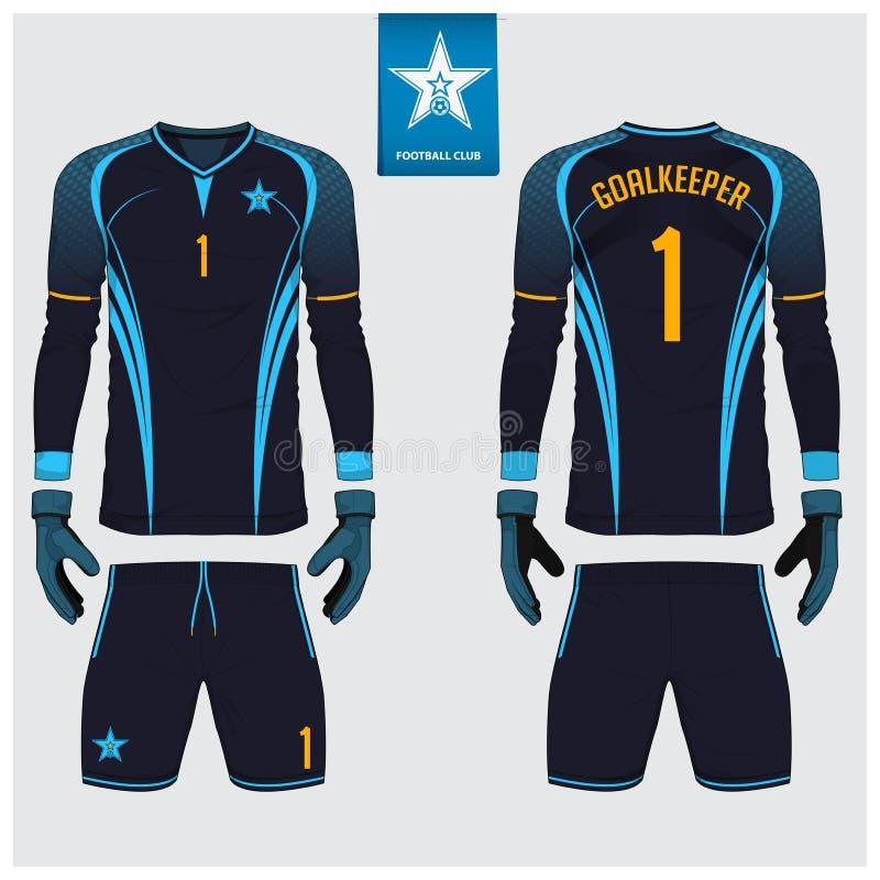 Τερματοφύλακας Τζέρσεϋ ή εξάρτηση ποδοσφαίρου, μακρύ μανίκι Τζέρσεϋ, σχέδιο προτύπων γαντιών τερματοφυλακάων Χλεύη μπλουζών επάνω διανυσματική απεικόνιση