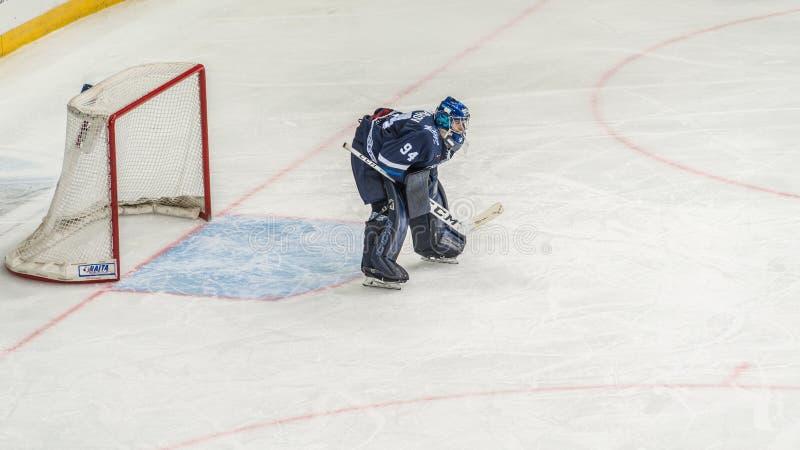 Τερματοφύλακας χόκεϋ πάγου έτοιμος για την υπεράσπιση στοκ εικόνες