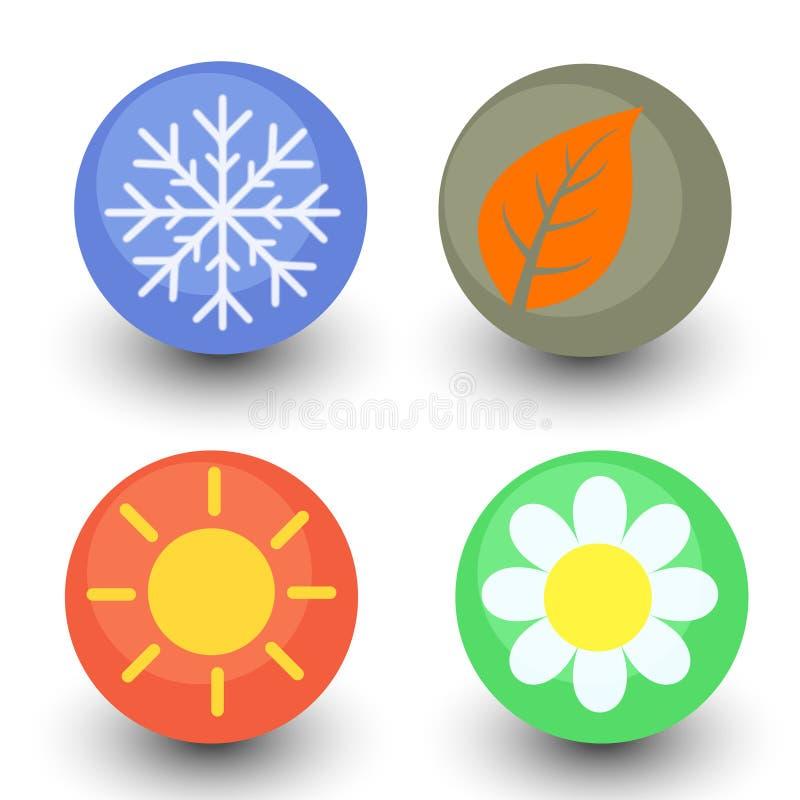 Τεσσάρων εποχών διανυσματικό σύνολο εικονιδίων, εποχιακό κουμπί με την υαλώδη λαμπρότητα ελεύθερη απεικόνιση δικαιώματος