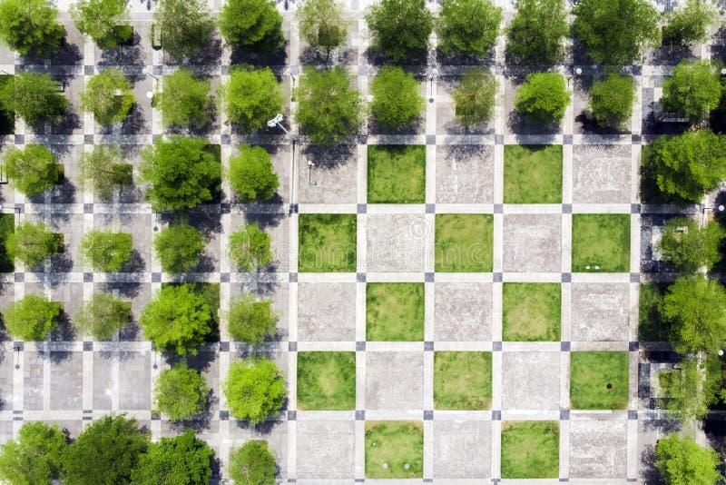 Τετράγωνα, δέντρα και πεζοδρόμιο σκακιού στο πράσινο πάρκο στοκ φωτογραφία με δικαίωμα ελεύθερης χρήσης